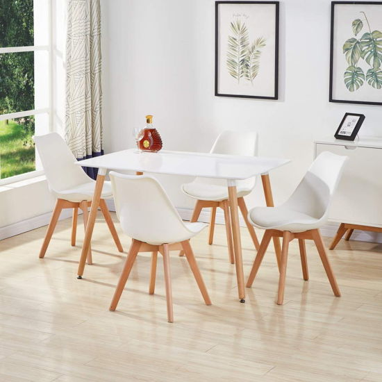 Latest Style Hotel Furniture Cheap White Wooden MDF Dining Table for Dining Room Furniture