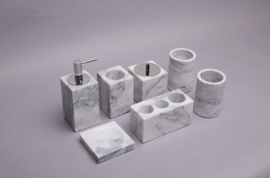 Wholesale White/Grey Marble Tripholes Toothbrush Holder Marble Handicrafts for Bathroom in Home/Hotel