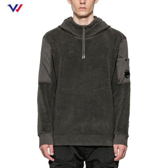 Hot Sale 80 Cotton 20 Polyester Hoody Clothing Heavyweight Wholesale Fleece Pullover Half Zip Hoodie for Men