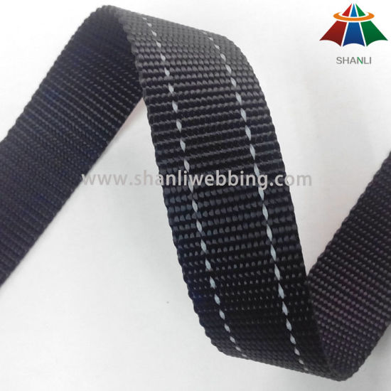1 Inch Black Two Striped Reflective Polyester Webbing for Dog Collar and Leash