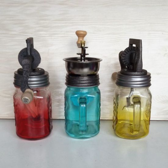 High Quality Glass Jars with Coffee Bean Grinder Top pictures & photos