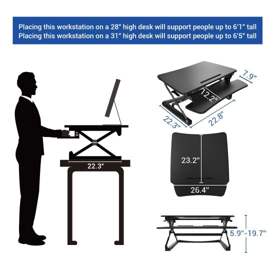 "Loctek 27"" Wide Platform Height Adjustable Standing Desk Riser, Sit-Stand Workstation, Black (MT101S) pictures & photos"