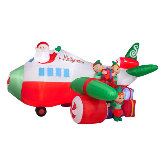 Hot Item Polyester Inflatable Christmas Airplane For Holiday Decoration