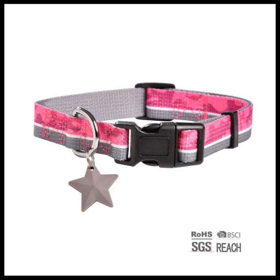Gold Woven Ribbon Classic Pet Puppy Dog Collar with Charm pictures & photos