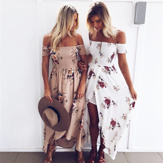 Off Shoulder Printed Long Beach Dress