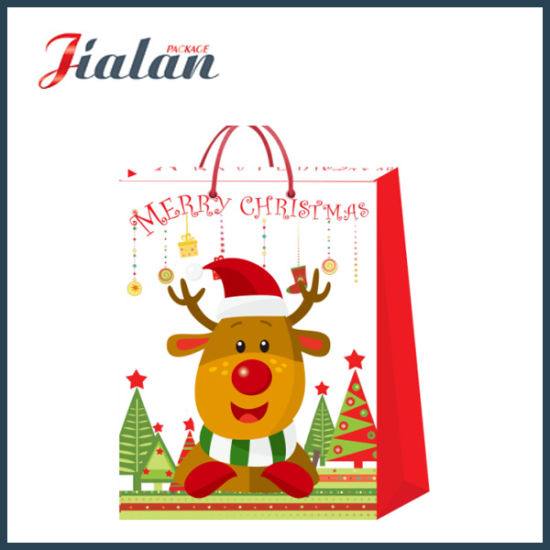 Wholesale Promotion Christmas Gift Packing Shopping Carrier Paper Gift Bag