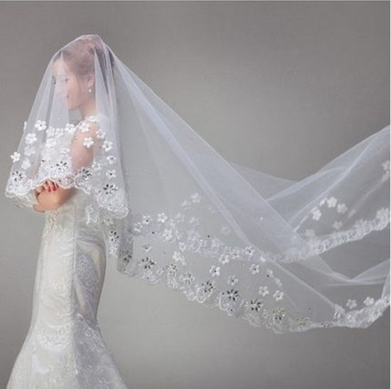 2017 White Ivory Soft Yarn Chapel Cathedral Wedding Veil (Dream-100094) pictures & photos