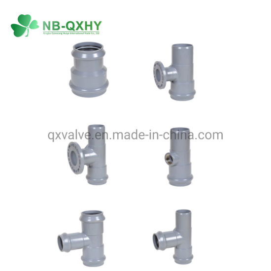 Plastic Pipe Fitting PVC Tee with Rubber Ring