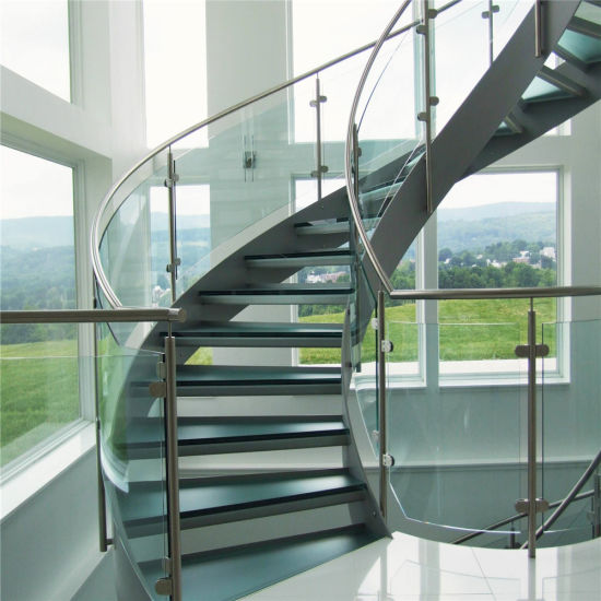 Modern Design Interior Curved Glass Staircase With Tempered Glass Railing