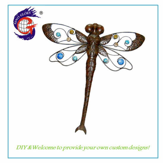Wholesale Hand Painted Metal Wall Decor Home Decoration Dragonfly Wall Hanging