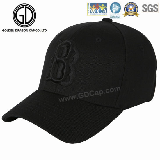 0d21f1040be Black Trendy Manufacturer Quality Baseball Cap with Double Embroidery