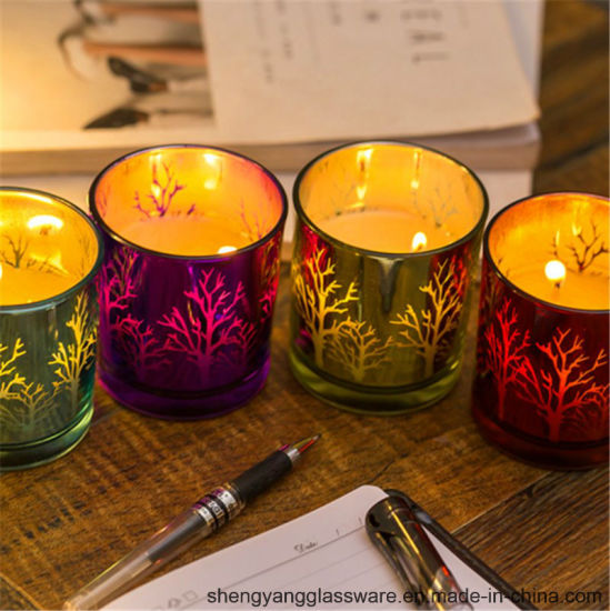 Hot Sell Electroplate Glass Scented Candle Jar pictures & photos