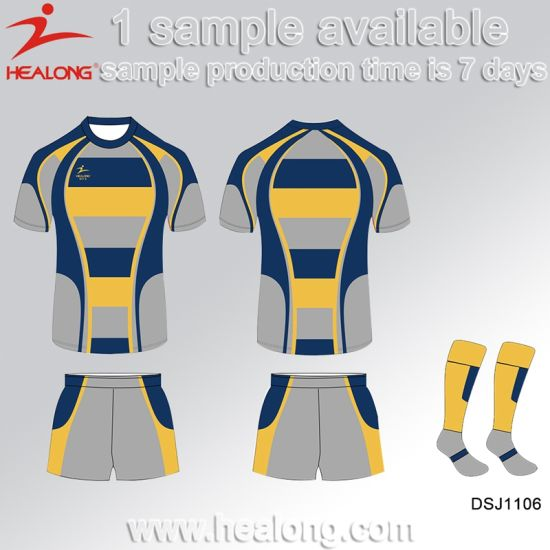 Healong Sublimation Fashion Any Logo Blank All Blacks College Rugby Set pictures & photos