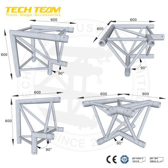 Aluminium Box Corner Truss/Black Truss Junction/Square Truss Connector