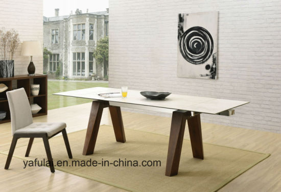 Manucafacture Extension Modern Design Ceramic Top Solid Wood Dining Table Furniture