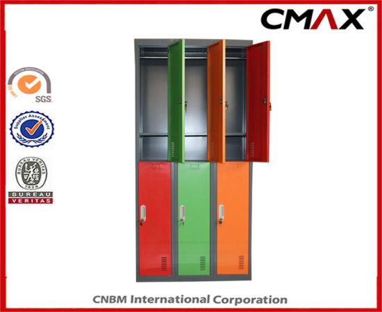 China Steel Locker 6-Doors Colorful School Gym Cabinet Metal