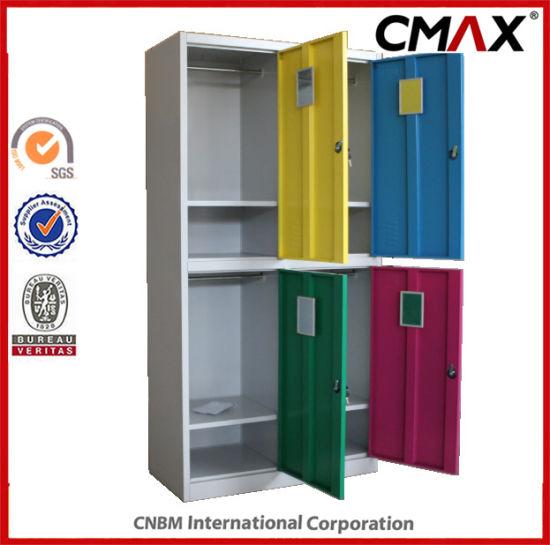 Steel 4-Doors Colorful School Locker Gym Changing Room Metal Cabinet Cmax-SL04-004