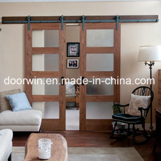 Oak Pine Wood Frosted Gl Barn Door Interior Sliding Entry For Villa