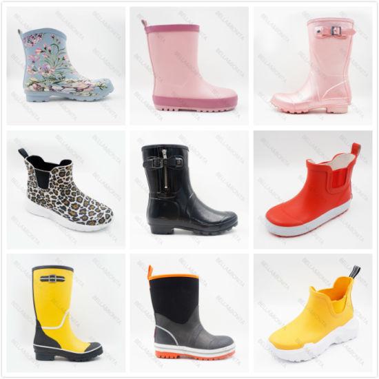 Wholesale Fashion Women/Men Rain Boots Middle-Cut Rubber/Leather Kid/Ladies Rain/Snow Boots Shoe Safety Boots High Heel Distribution OEM Price