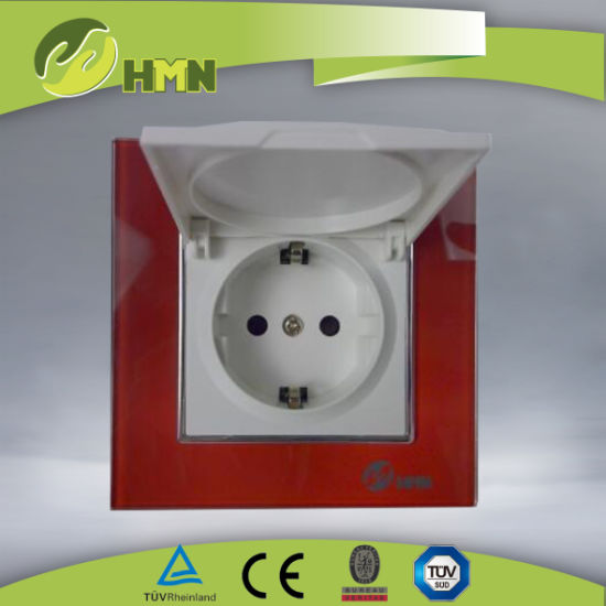 TUV Certified China Red Glass Dust Cap Outlet Schuko Socket