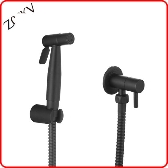 Sanitary Ware 304 Stainless Steel Black Color Hand Held Shower Faucet Shattaff Bidet Sprayer for Bathroom