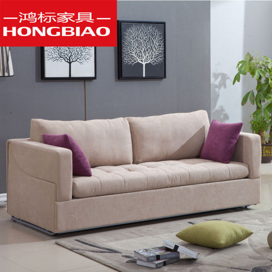 Nordic Sofa Bed Living Room Three Double Dual-Use Foldable Multifunctional  Sofa Small Apartment Bed Fabric Bedhb09-3