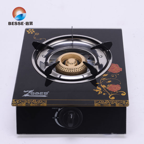 Tempered Glass Cast Iron Burner Cap Table Gas Cooker Zg-1005