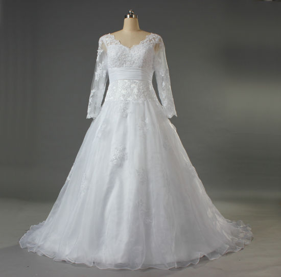 Women's V Neck Organza Lace Long Sleeve Wedding Gown for Bride W163