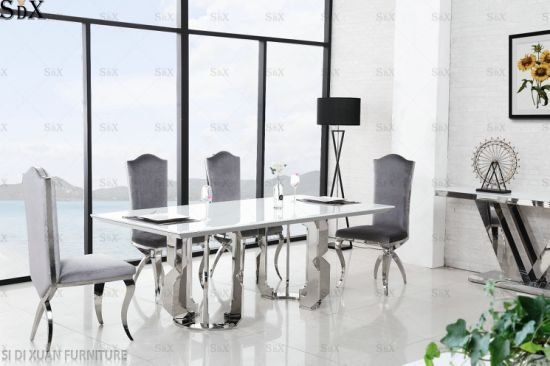 High Quality Modern Stainless Steel Super White Glass Dining Table Home Furniture