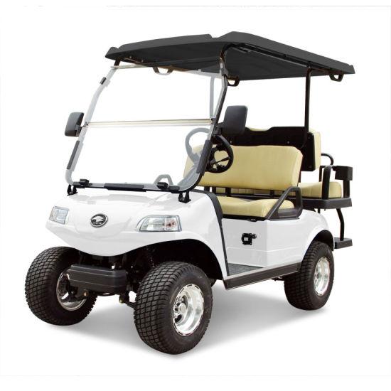 Golf Cart 2+2-Seater Electric Cart White Utility Vehicle Blackroof