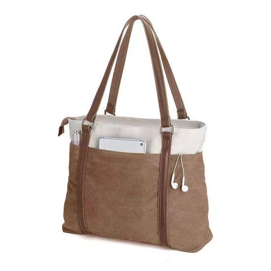 Women Laptop Lightweight Custom Travel Handbags Cotton Tote Shopping Bags