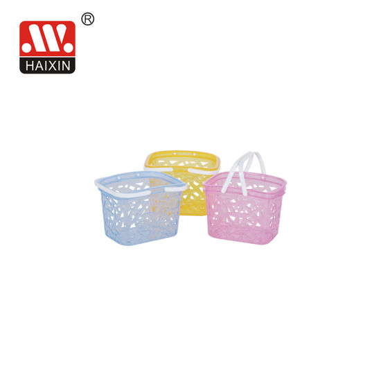 Plastic Transparent Storage Basket with Handle for Home Household