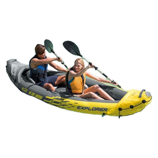 2 Person Recreational Rowing Canoe Free Inflatable Double Paddle Kayak Fisher Kayak