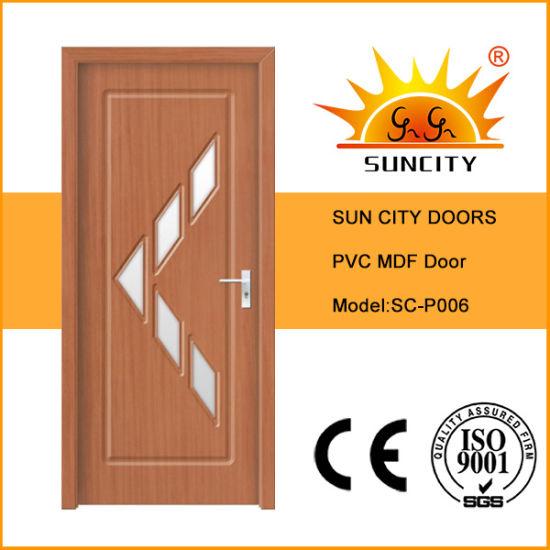 Interior MDF Wooden Door Operators Designs PVC Bathroom Toilet