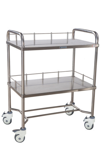 Stainless Steel Surgical Instrument Medical Tray Mobile Instrument Trolley/Cart for Hospital Furniture with Mute Wheels Multifunction 2 Layers