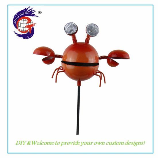 Metal Solar Powered Crab Shape Outdoor Garden Ornaments LED Solar Lighting