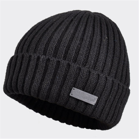 Fashion Winter Merino Wool Custom Leather Patch Beanie