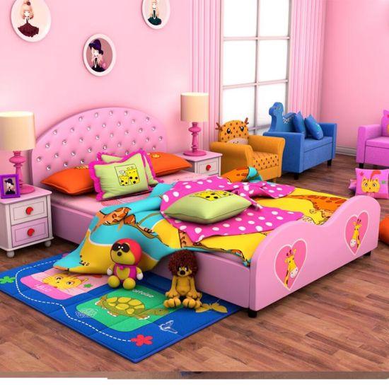 Moden Design Crystal Buckled Children Bed Girls Bedroom Furniture