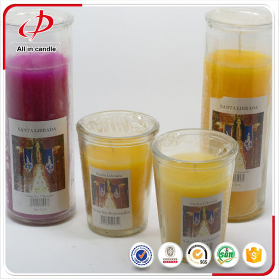 Wholesale Glass Taper Candle Jars Glass with Different Color pictures & photos