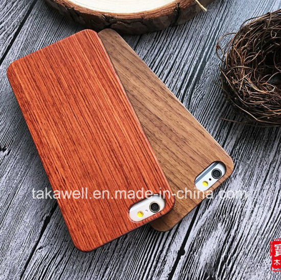 Rubberized PC+Wood Plate iPhone 7/6/5s Wood Mobile Phone Case Made by Rosewood/Bamboo/Walnut/Teakwood pictures & photos