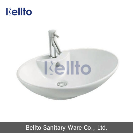 Above Counter Porcelain Sink with Oval Shaped for Lavatory pictures & photos