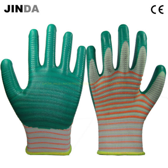U209 Zebra-Stripe Green Nitrile Coated PPE Gloves