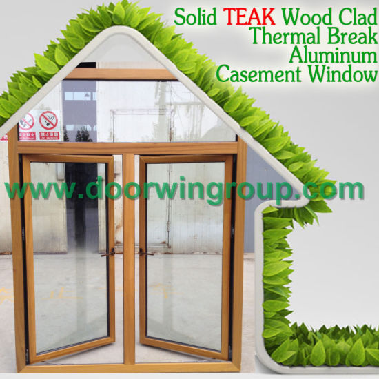 Oak Wood Aluminum Tilt and Turn Window, Inward Opening Wood Aluminum Window Multi-Point Locking System for Home Security pictures & photos