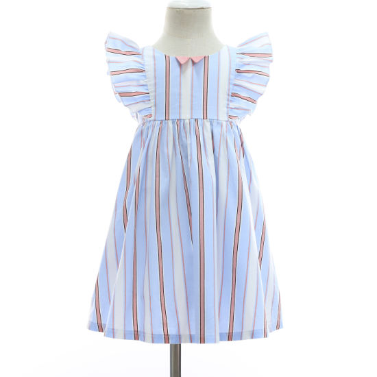 New 2019 Spring/Summer Ruffle Stripe Sleeves Infant/Baby/Kids Girl Clothes Dress Fashion pictures & photos