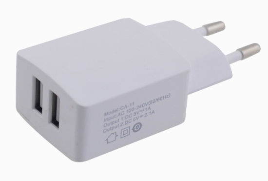 Europe EU Plug 2-Ports USB Travel Wall Charger for iPhone/Samsung/Tablet