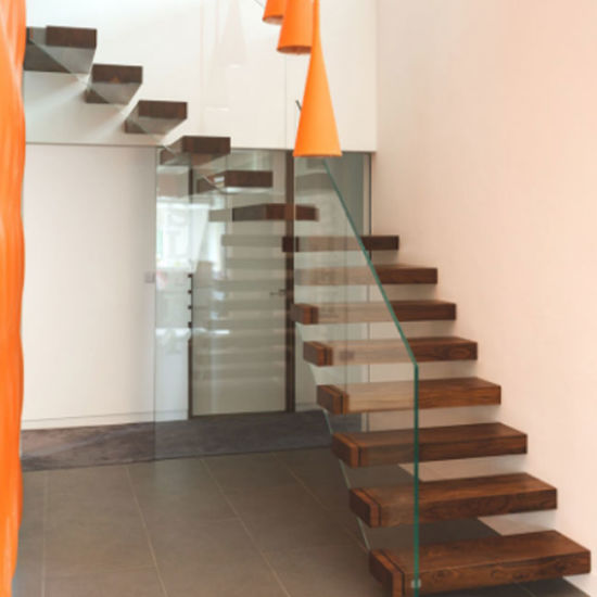 Interior Invisible Beam Glass Railing Wood/Glass Stair Kit Cantilever Stair