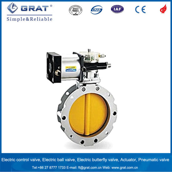 China High Temperature Pneumatic Double Flanged Type Butterfly Valve