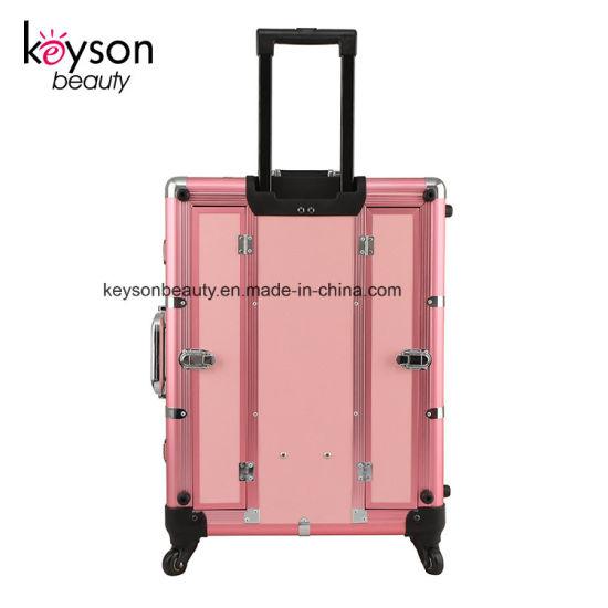 Keyson Pink Rolling Studio Aluminum Makeup Artist Cosmetic Vanity Case With Light