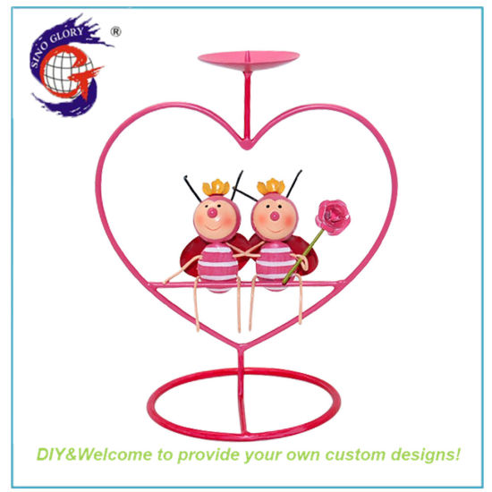 New Metal Pink Ladybird Heart-Shaped Candle Desk Stick Holder