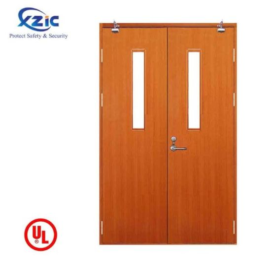 China En Standard Interior Double Leaves Wood Fire Door With Label China Hotel Or Apartment Fire Door Double Leaves Wood Fire Door